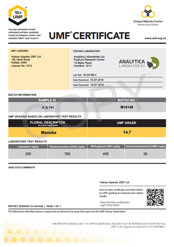 Haines UMF 10+ Certificate of Analysis